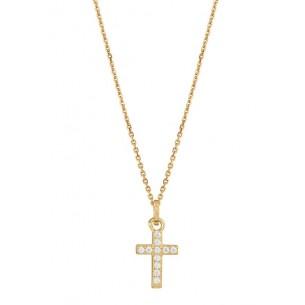 Silberkette mit Kreuz silbervergoldet 925, XS3521GK