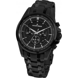 Jacques Lemans Liverpool Herrenchronograph massiv Edelstahl ip-black 81398, 4040662139188
