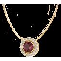 Jacques Lemans Collier silbervergoldet 925/- Granat und weisse Topas 82228, 4040662146636