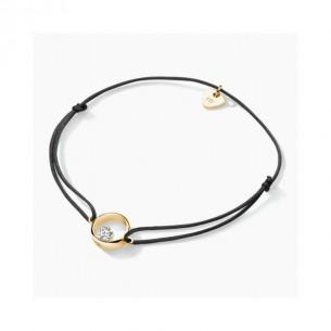 FJF Jewellery Armband Textil handgeknüpft mit Silberteil 925/-vergoldet mit herzförmigen Zirko 82210, 9120081461468