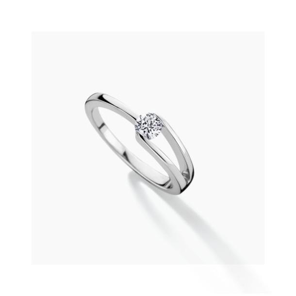 FJF Jewellery Ring Classic Solitär Silber 925/- mit Zirkonia Swarovski 82197, 9120081462144