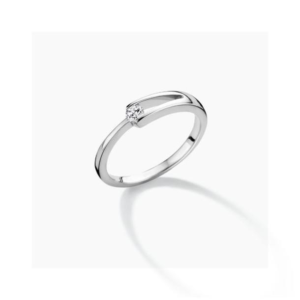 FJF Jewellery Ring Classic Solitär Silber 925/- mit Zirkonia Swarovski 82199, 9120081462281