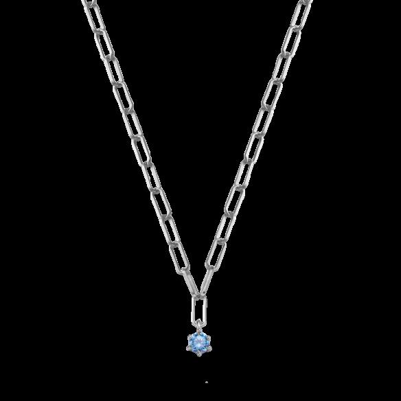 Xenox Collier Silber 925/- mit Zirkonia Aquamarin 82390, 9010050067008