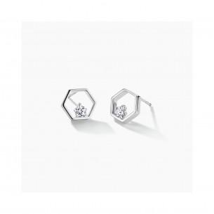 FJF Jewellery Ohrringe Silber 925/- Pentagon mit Zirkonoxid Swarovski 82553, 9120081461208