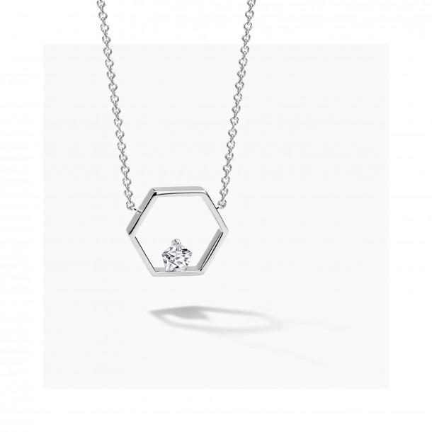 FJF Jewellery Collier Silber 925/- Pentagon mit Zirkoniaoxid Swarovski 82552, 9120081461024