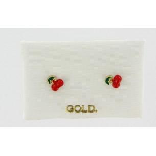 Palido Kinderohrstecker Gelbgold 14k /-,Email-Kirsche 83316, 9010595737510