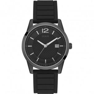 Guess Männer Uhr schwarz mit Kautschukband 83375, 091661474514