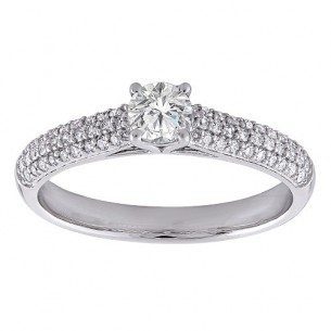 K & K Brillantring - Verlobung Weissgold 14kt Brillant 83419,