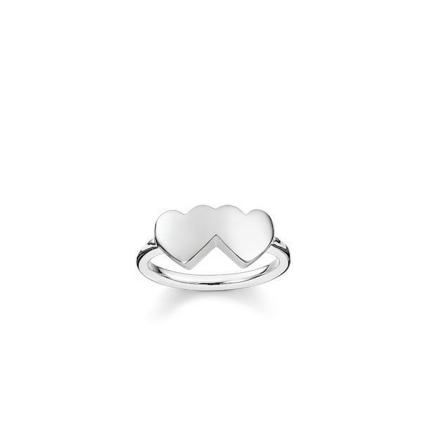 Thomas Sabo - Sterling Silver Silberrring Doppelherz - gravierbar 58148, 4051245195743