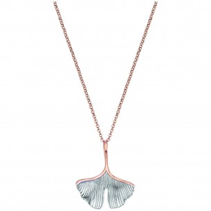 Engelsrufer Kette Ginkgo Silber bicolor rose 83621, 4260645863064
