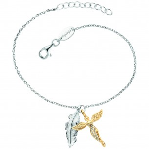 Engelsrufer Armband Feder & Engel Silber Bicolor mit Zirkonia 83597, 4260645863446