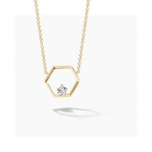 FJF Jewellery Collier Icon Pentagon silbervergoldet Swarovski Zirkonia 83665, 9120081461048