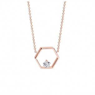 FJF Jewellery Collier Icon Pentagong silber rose vergoldet Zirkonia Swarovski 83664, 9120081461031