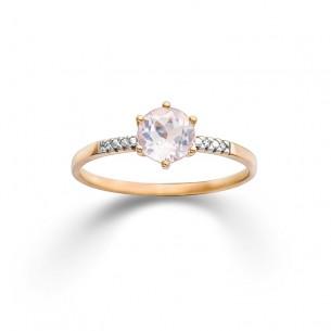 Palido Rotgold-Ring mit Rosenqzuarz und Brillanten 83952, 9010595816604