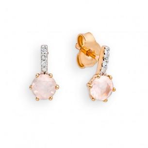 Palido Ohrstecker Rotgold mit Rosenquarz und Diamanten 83953, 9010595794971
