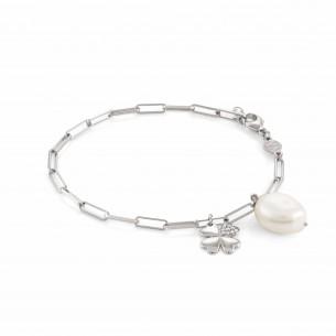 Nomination Armband Silber mit Süsswasserperle Kleeblatt 83967, 8033497498052
