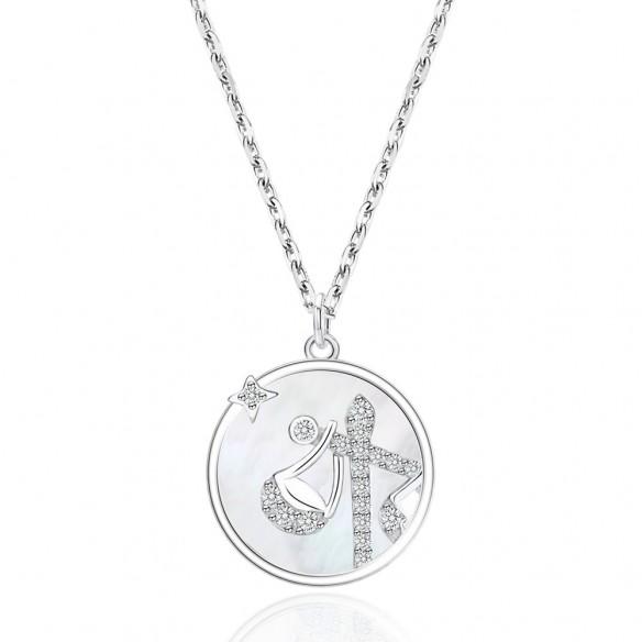 Juwelier Waschier Kette mit Sternzeichen Waage - Perlmutt & Zirkonia 84129,