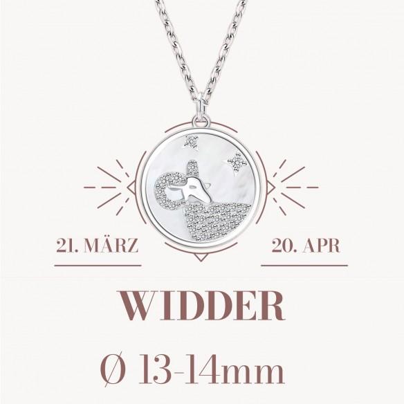 Sternzeichen Widder in 925 Silber mit Perlmutt und Zirkonia - ca. 13-14mm Größe