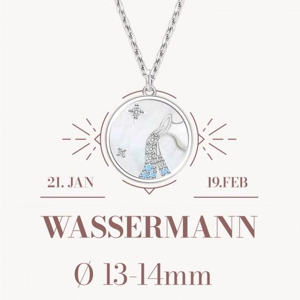 Sternzeichen Wassermann in 925 Silber mit Perlmutt und Zirkonia - ca. 13-14mm Größe