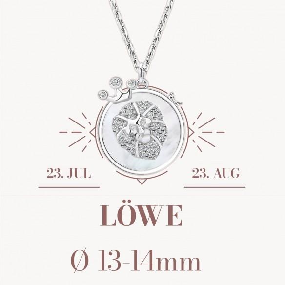 Sternzeichen Löwe in 925 Silber mit Perlmutt und Zirkonia - ca. 13-14mm Größe