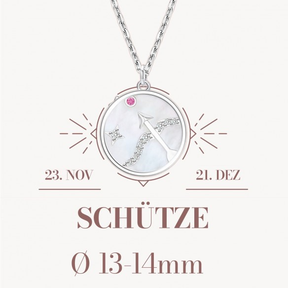 Sternzeichen Schütze in 925 Silber mit Perlmutt und Zirkonia - ca. 13-14mm Größe