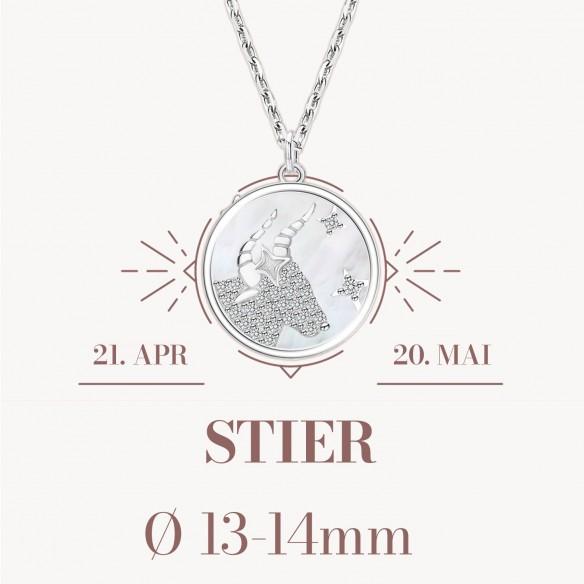 Sternzeichen Stier in 925 Silber mit Perlmutt und Zirkonia - ca. 13-14mm Größe
