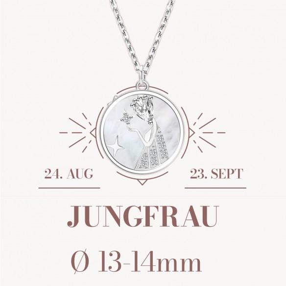 Sternzeichen Jungfrau in 925 Silber mit Perlmutt und Zirkonia - ca. 13-14mm Größe