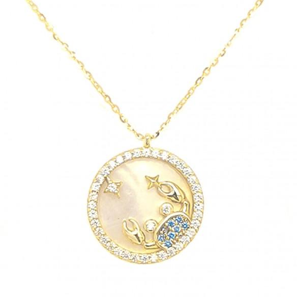 Juwelier Waschier Sternzeichen Krebs vergoldet mit Perlmutt & Zirkonia 84225,