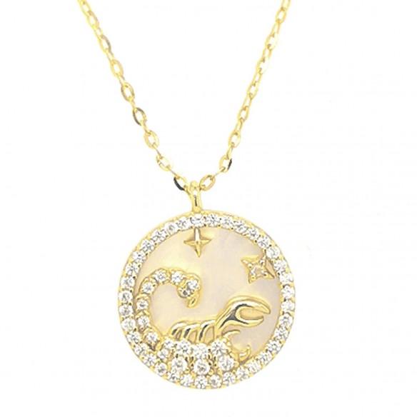 Juwelier Waschier Sternzeichen Skorpion vergoldet mit Perlmutt & Zirkonia 84229,