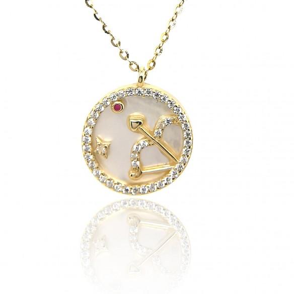 Juwelier Waschier Sternzeichen Schütze vergoldet mit Perlmutt & Zirkonia 84230,