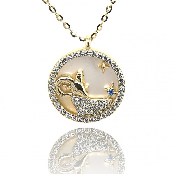 Juwelier Waschier Sternzeichen Widder vergoldet mit Perlmutt & Zirkonia 84222,