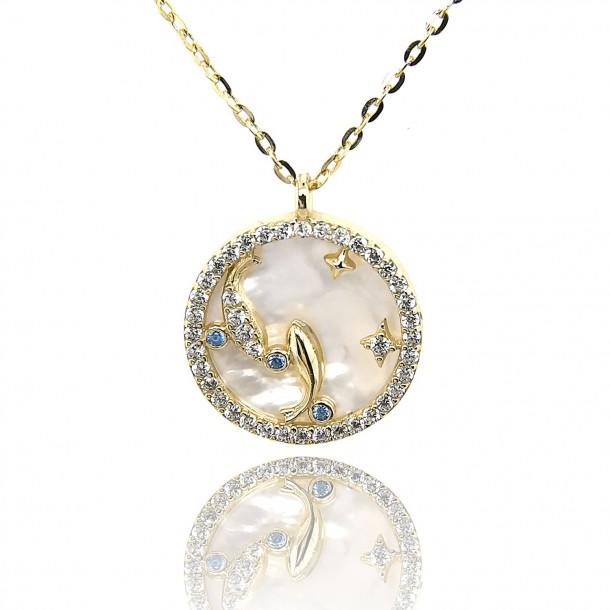 Juwelier Waschier Sternzeichen Fische vergoldet mit Perlmutt & Zirkonia 84221,