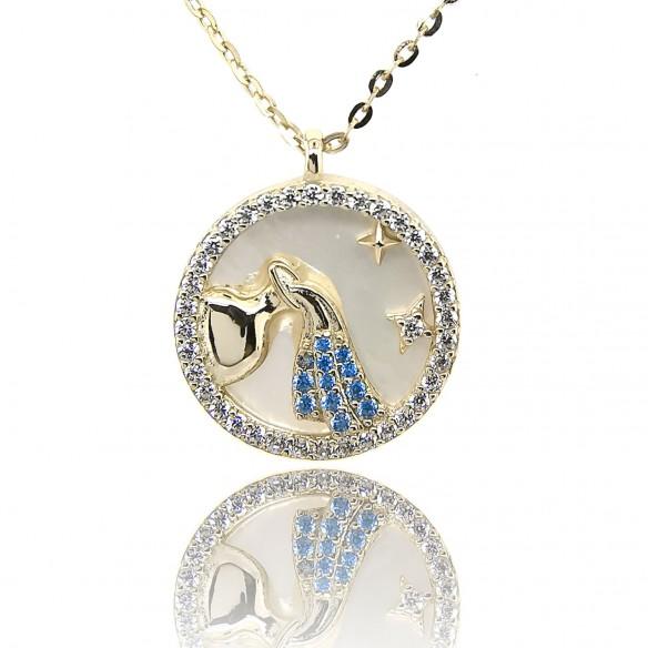 Juwelier Waschier Sternzeichen Wassermann vergoldet mit Perlmutt & Zirkonia 84220,