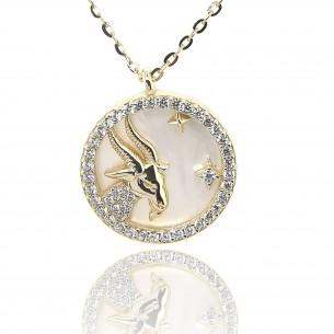 Juwelier Waschier Sternzeichen Steinbock vergoldet mit Perlmutt & Zirkonia 84231,