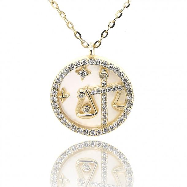 Juwelier Waschier Sternzeichen Waage vergoldet mit Perlmutt & Zirkonia 84228,