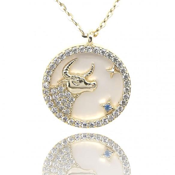 Juwelier Waschier Sternzeichen Stier vergoldet mit Perlmutt & Zirkonia 84223,