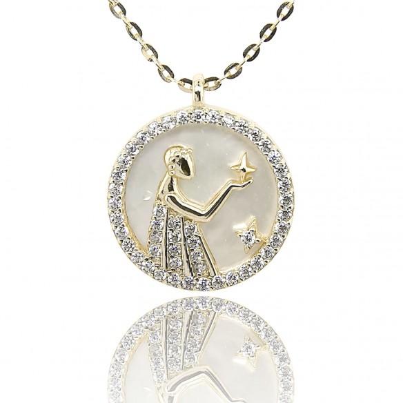 Juwelier Waschier Sternzeichen Jungfrau vergoldet mit Perlmutt & Zirkonia 84227,
