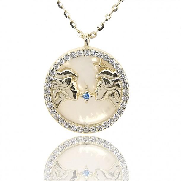 Juwelier Waschier Sternzeichen Zwillinge vergoldet mit Perlmutt & Zirkonia 84224,