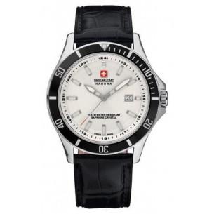 Swiss Military Hanowa Uhr Herrenarmbanduhr Lederband QUARTZ Stahlgehäuse Safirgl, 06-4161.2.04.001.07