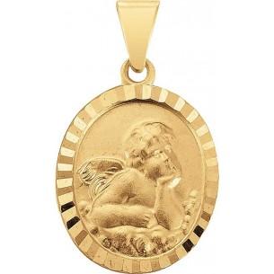 klassischer Taufanhänger mit Schutzengel in Gold, TA122
