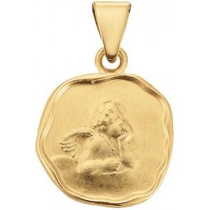 Taufanhänger mit Schutzengel in Gold, TA121