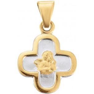 Taufanhänger in Kreuzform 14 Karat Gold Bicolor - TA114