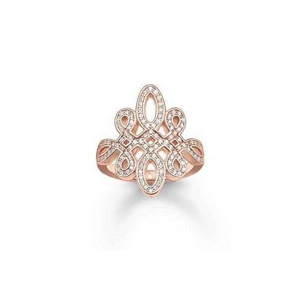 Sterling Silver Ring SI 925 Weite:54 Zirkonia Silber rose vergoldet trendy Damen, TR1974-416-14-54