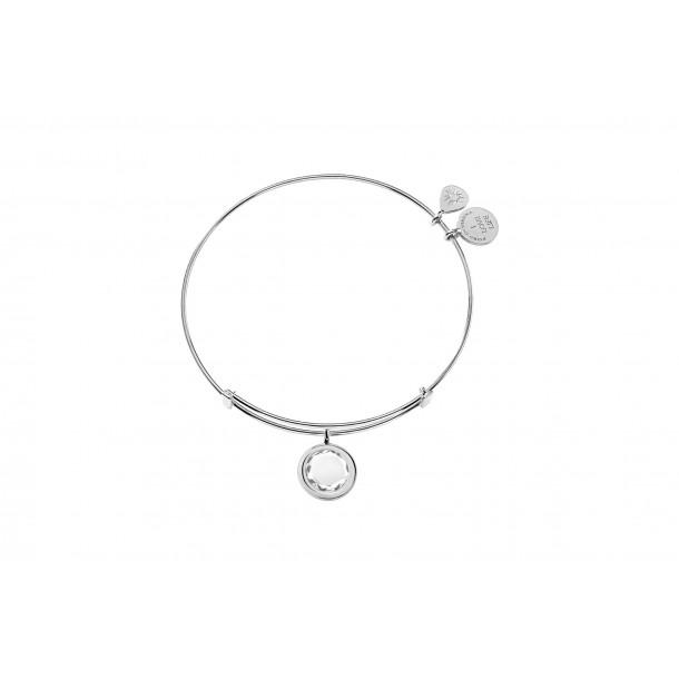 Zirkonia Weiß Armreif Silber rhodiniert, FO5001RH