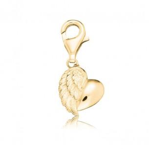 ERC-HEART-G, Engesrufer Charm Herzflügel gold plated