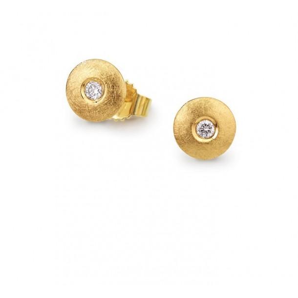 11505-30G, Brillantohrstecker - Gelbgold eismatt