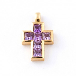 Kreuz Gelbgold 585 (14Kt) Amethyst, 101089