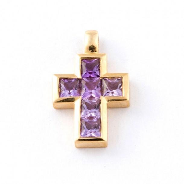 , Kreuz Gelbgold 585 (14Kt) Amethyst