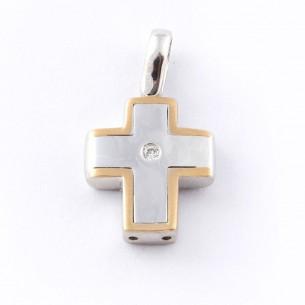 30100269, Kreuz Weiß-Gelbgold 14 Kt