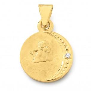 TA141, GG 585 Taufanhänger mit Zirkonia gravierbar von Diadoro Gold Basics